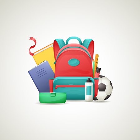 Schoolbag with school supplies Imagens - 85955282