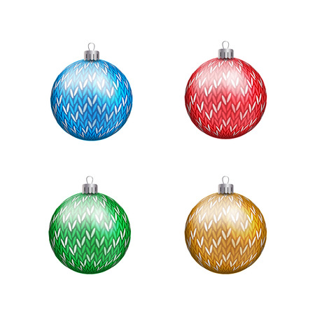 Knitted Christmas Balls in various colors isolated Ilustração