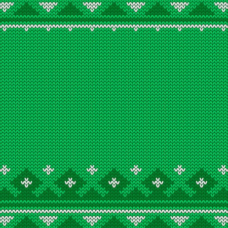 Knitted green Christmas pattern. Imagens - 88093267