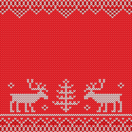 Red knitted sweater with deer knitted pattern.