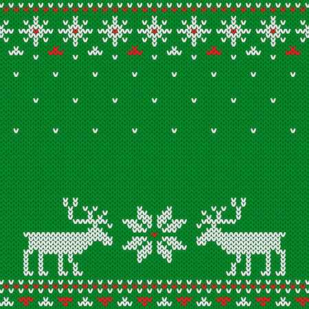 Christmas and New Year knitted pattern. Imagens - 88330508