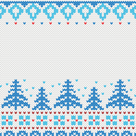 Handmade knitted background pattern with Christmas trees and snowflakes, scandinavian ornaments. Ilustração