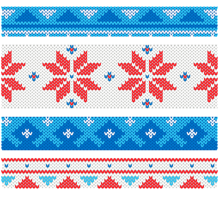 Christmas knitted borders with traditional ornaments Ilustração