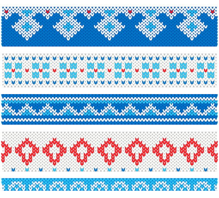 Vector knitted collection frames traditional ornaments for greeting cards Imagens - 89454785