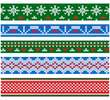 New year and Christmas Party Flat style vector knitting borders Imagens - 89630128