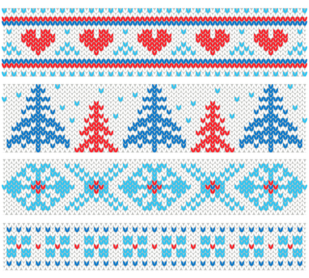 Handmade knitted borders pattern with christmas trees and hearts, scandinavian ornaments. Ilustração