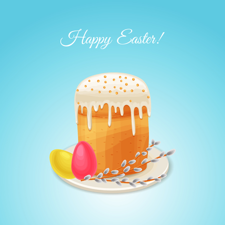 Easter vector holiday card in cartoon style