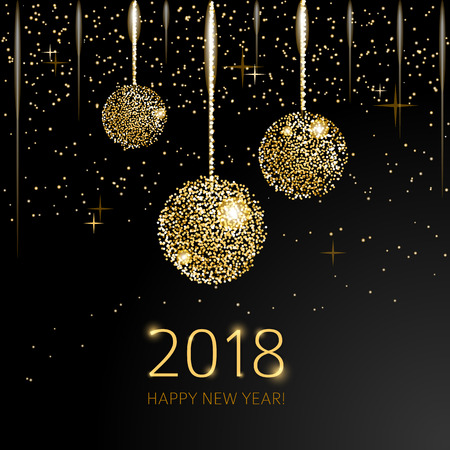 2018 Happy New Year Background with golden glitter balls on black background. Imagens - 90675674