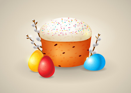 Traditional Easter treats vector illustration. Delicious Easter cake with creamy top, colorful eggs