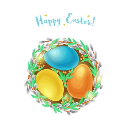 Easter egg nest with willow branches. Imagens - 91029600