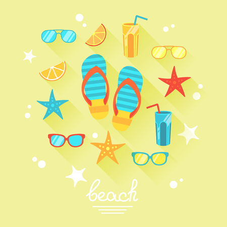 Summer theme with food and objects illustration like flip flops and shades