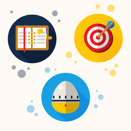Vector abstract self management icons like darts and charts Imagens - 91384074