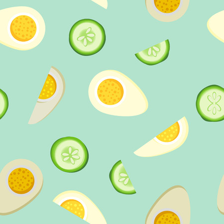 Flat design eggs and cucumber slices seamless pattern background Imagens - 92163664