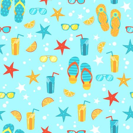 Vector summer beach seamless pattern with sunglasses, flip flops, cocktails Imagens - 91717342
