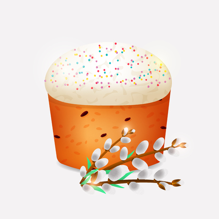 Traditional Easter cake with creamy top and willow twigs isolated vector illustration Imagens - 91731886