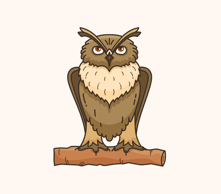 Owl vector drawing illustration Imagens - 91617112
