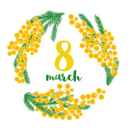 Vintage mimosa branches greeting card. Vector illustration Ilustração