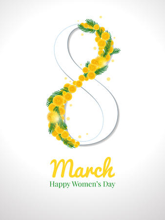 Happy international womens day greeting card. Postcard on March 8. Text with flowers of yellow mimosa