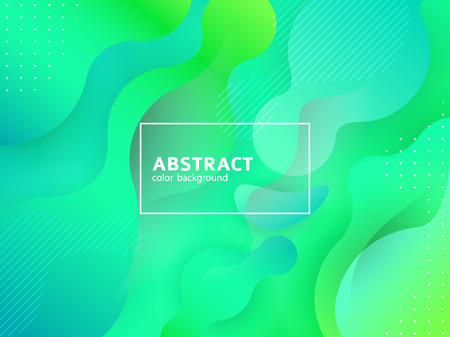 Liquid green color background design. Fluid gradient shapes composition
