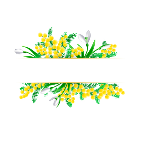 Mimosa and snowdrop branches horisontal frame template. Vector illustration. Imagens - 124351418