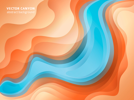 Realistic colorful paper cut background. Canyon relief imitation. Carving craft. Vector art illustration. Cover layout design template. Ilustração