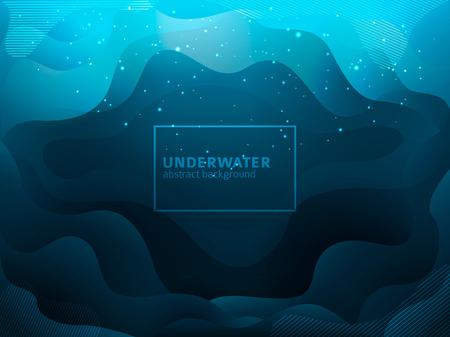 Abstract geometric shapes flow underwater background with sparkles Ilustração