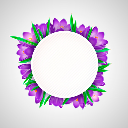 Vector element for design. Blue crocuses with white card round with green leaves Imagens - 124091105