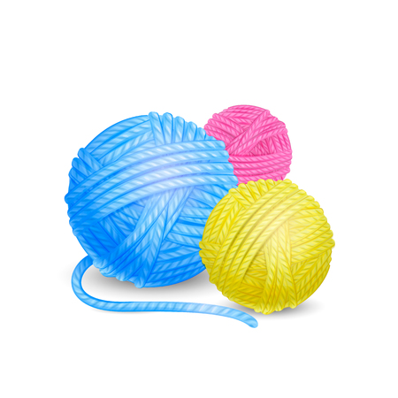 Vector detailed illustration of colored yarn balls isolated on white background Ilustração