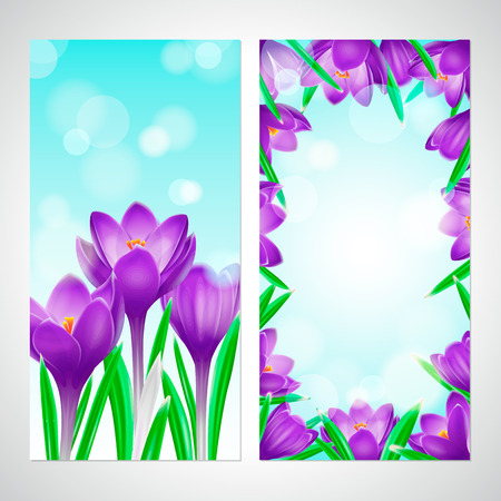Crocuses vertical banner set, vector bright flower flyer template with place for text Imagens - 124026306