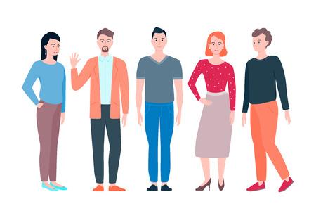 Group of working people standing on white background. Vector set illustration Ilustração
