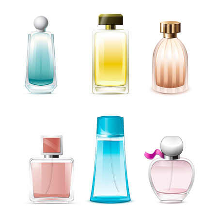 Vector Perfume Icons isolated on white background