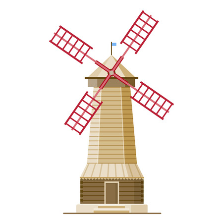 Vector illustration in modern flat style - wind mill. Isolated eps illustration