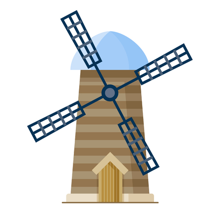 Wooden traditional wind mill. Isolated eps vector illustration in modern flat style