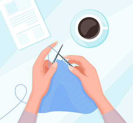 Vector carton illustration of knitting process. Workshop, hands hold needles with thread with coffee cup and instruction