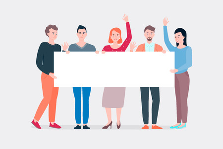 Striking people holding empty banner. Vector illustration of group of male and female people standing in front Ilustração