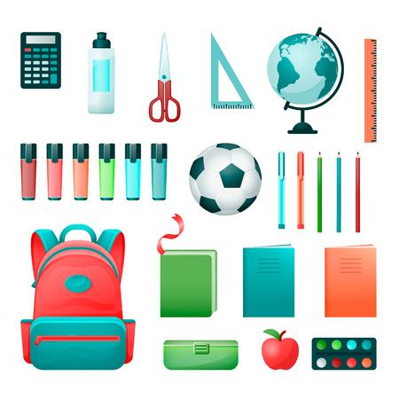 school supplies set in flat style Ilustração