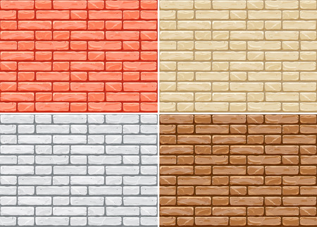Cartoon seamless pattern of brick wall. Vector design. Colorful wallpaper vector. Tiling background pattern. Imagens - 123197712