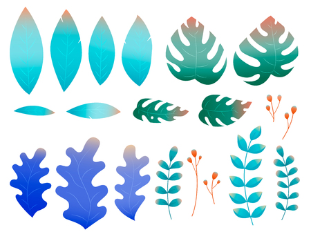 Flat leaves in abstract style on white background Ilustração