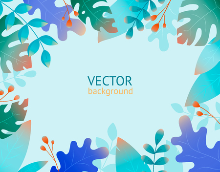 Collection with plant flat jungle. Print, template, design element.