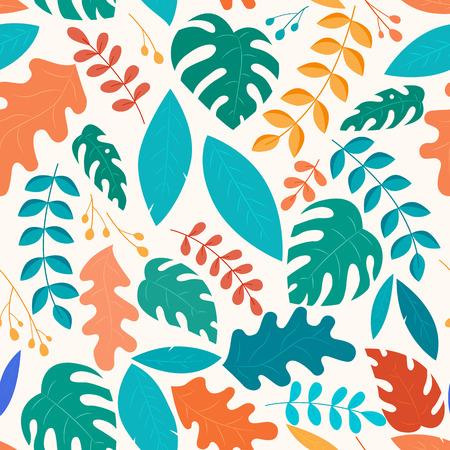 Botanical fantasy leaves seamless pattern, garden concept