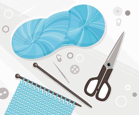 Knitting tools illustration. Hand work concept Ilustração