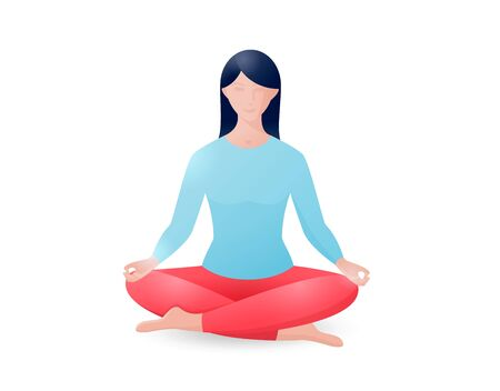 Young woman sitting in the lotus position. Yoga Ilustração