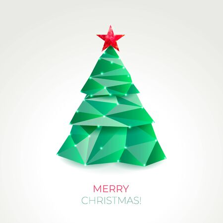 Abstract christmas tree made of green triangles.
