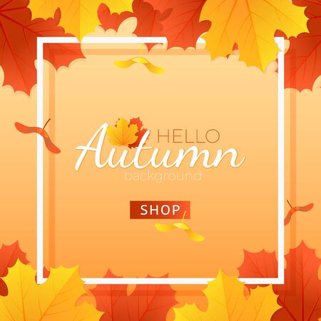 Autumn Sale Card With Colorful Maple Leaves