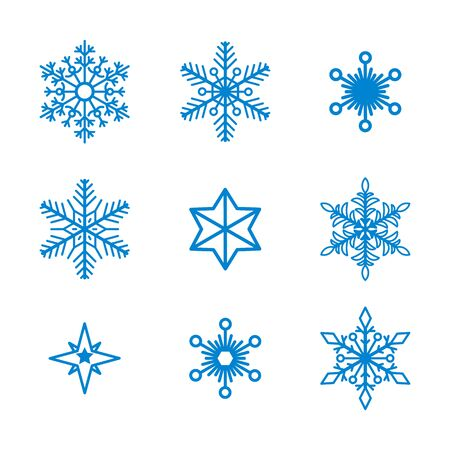 Set of vector snowflakes isolated on background