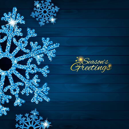 Greeting card with sparkling glitter blue textured snowflakes. Seasonal holidays background