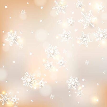 Vector festive defocused lights and snowflakes background
