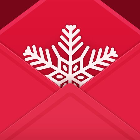 Christmas vector festive card with red envelope and snowflake