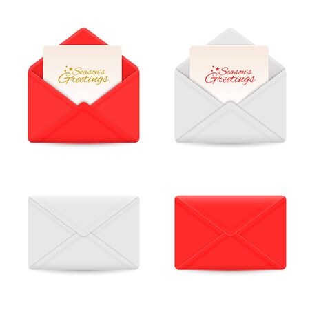 Holiday envelopes with seasonal greeting cards 向量圖像