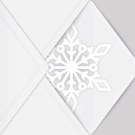 Holiday background with white paper snowflake and envelope